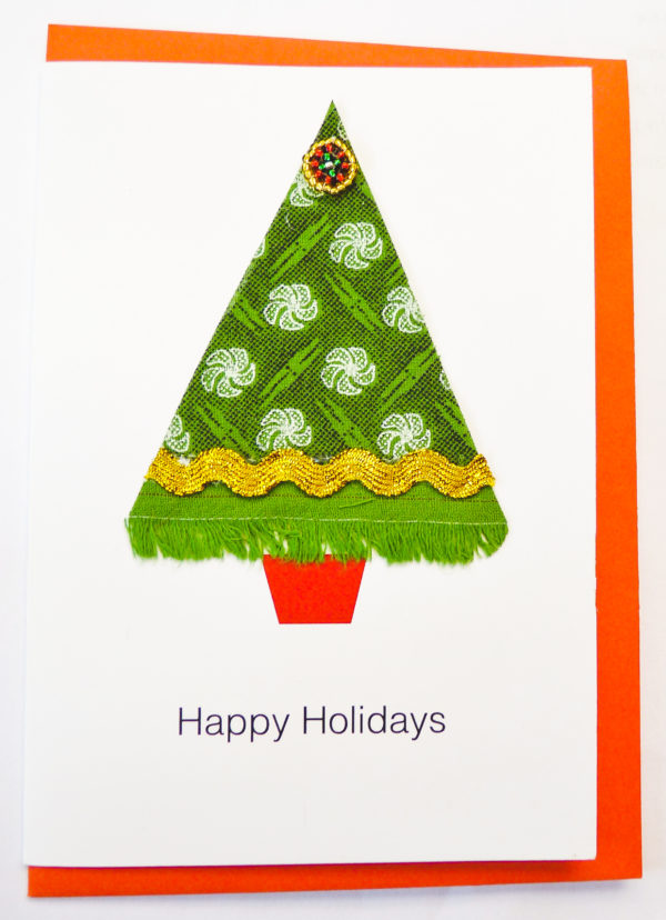 Cards - Happy Holiday Christmas Tree Card - woza moya online craft store african beaded artwork