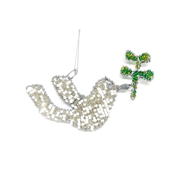 white and silver beaded wire dove holding a leaf