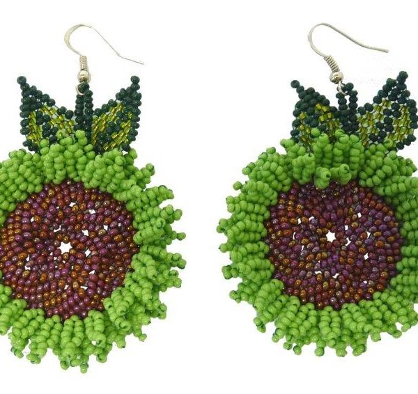 Earrings : Jacqueline's Sunflowers With Leaves