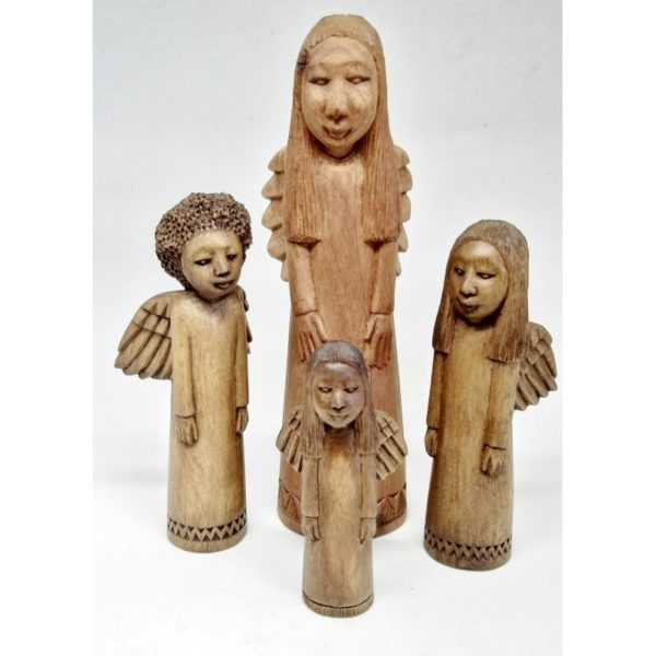 group of four hand-carved wooden standing angels carved by Josephat
