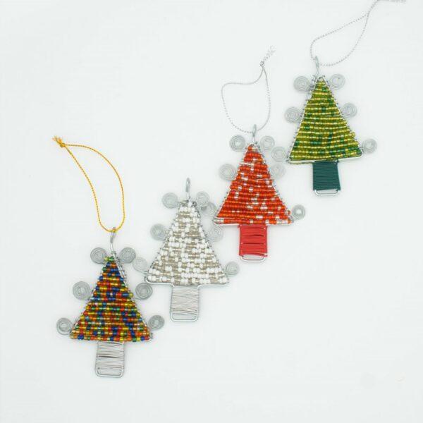 beaded wirework Christmas tree decorations