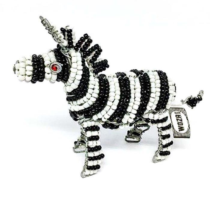 Wire and Glass Bead Zebra