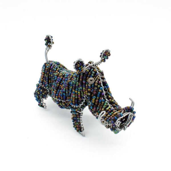 Wire and Glass Bead Warthog Sculpture