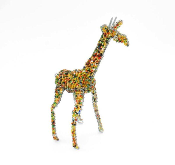 3D Wire and Bead Giraffe Sculpture