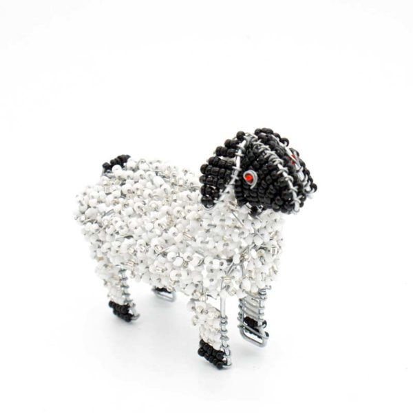 Sheep Wire and Glass Bead Sculpture