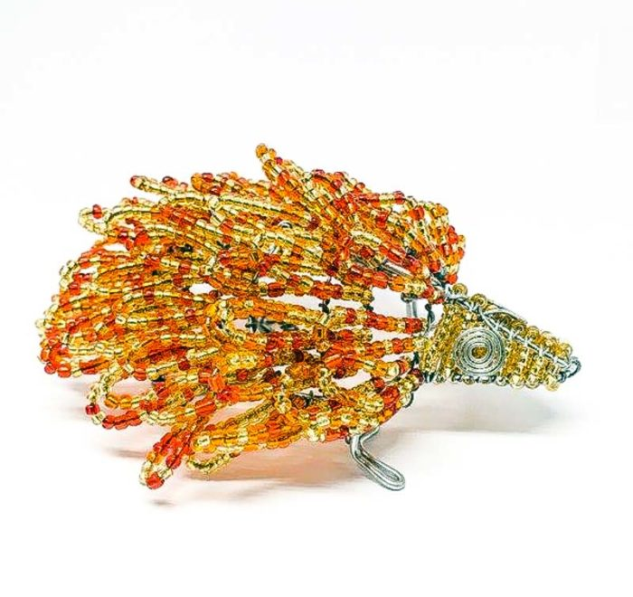 Wire and Glass Bead Hedgehog Sculpture