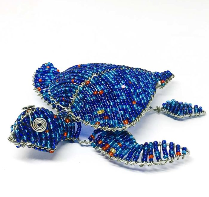 Wire and glass bead turtle