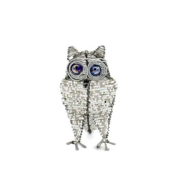 African Owl Glass Bead and Wire Sculpture