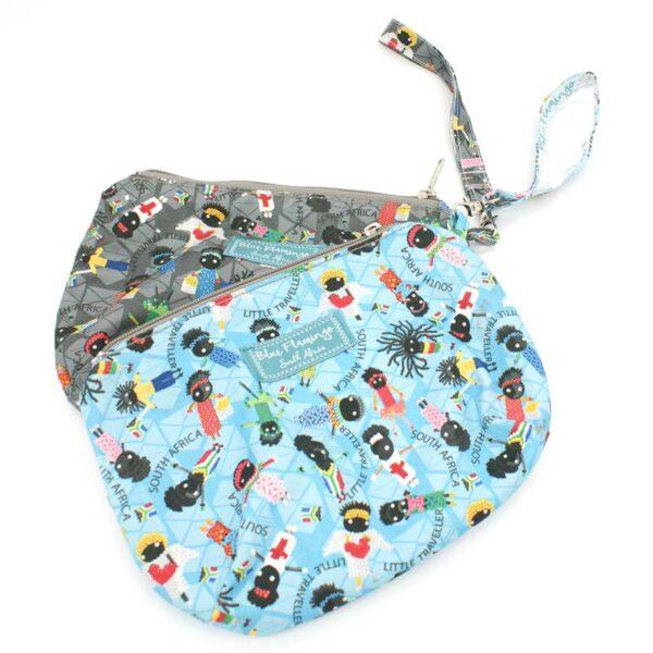Little Traveller Clutch Make Up or Travel Bag with Wrist Strap