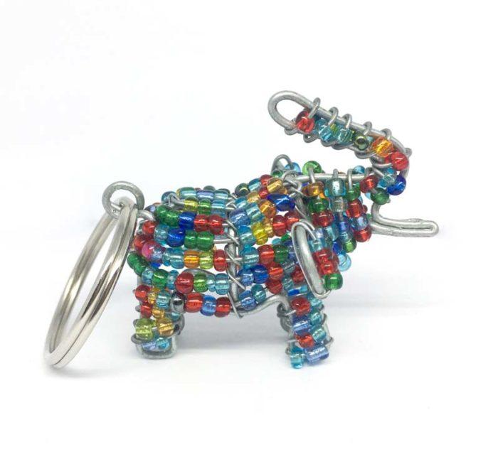 Beaded Wirework Elephant Keyring