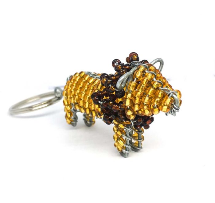 Wirework and Bead Lion Keyring