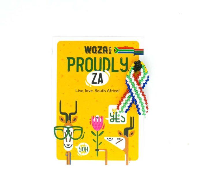 Proudly ZA Ribbon Pin on Card