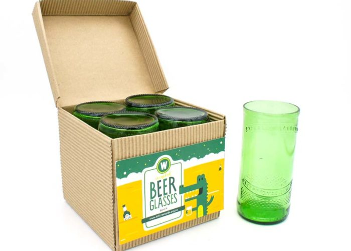 Pack of 4 Hand Cut Beer Bottle Drinking Glasses