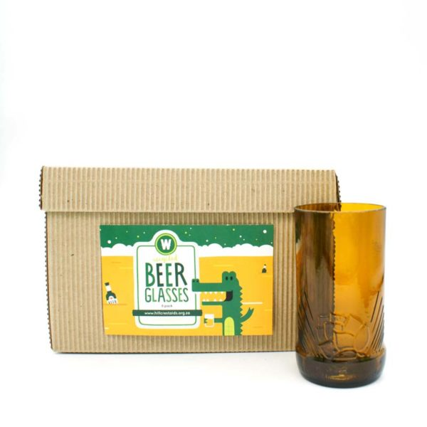 Pack of 6 Hand Cut Beer Bottle Drinking Glasses