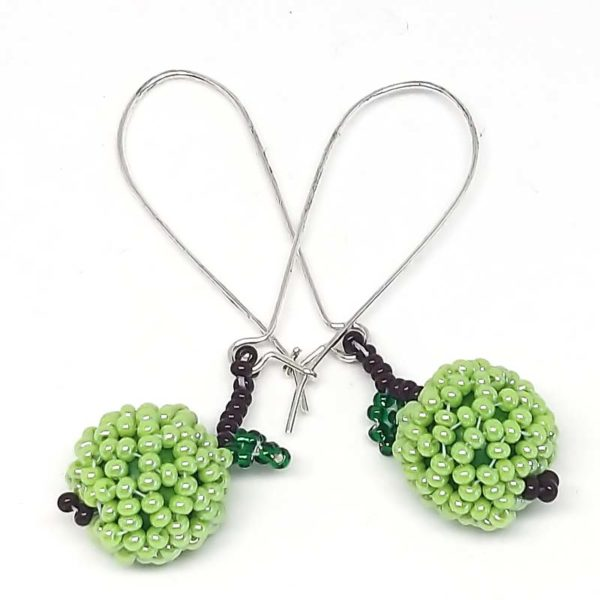 Red and Green Bead Apple Earrings