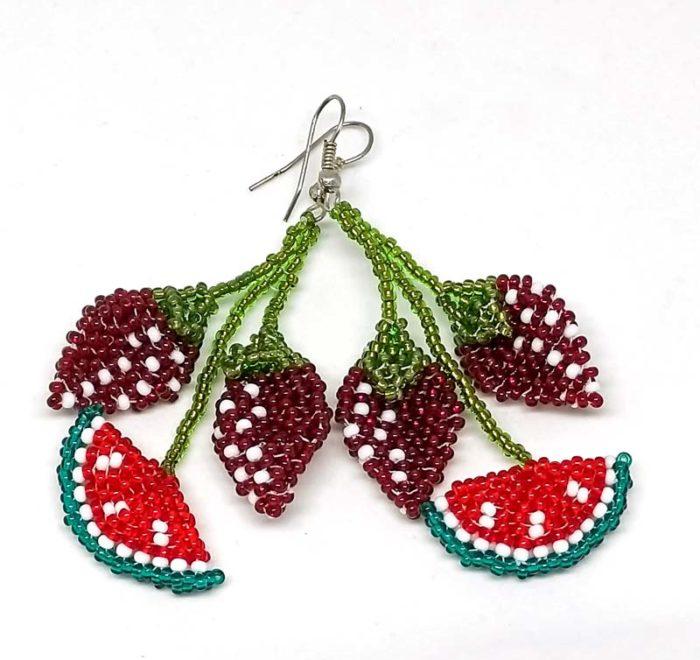 Watermelon and Strawberries Bead Earrings