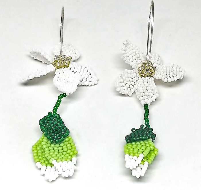Flower with Dangling Buds Earrings