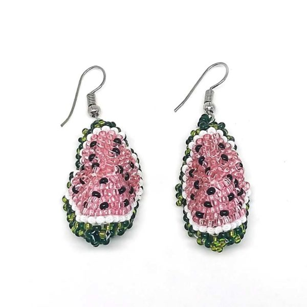 Watermelon Slice 3D Bead Earrings