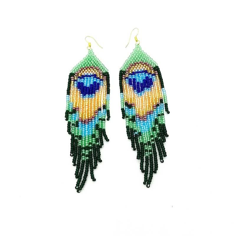 Peacock beaded earrings - E095 Peacock beaded earrings , 10cm x2,5x0.5cm 12 grams, R170, woza Moya beadwork , handmade, KZN 1