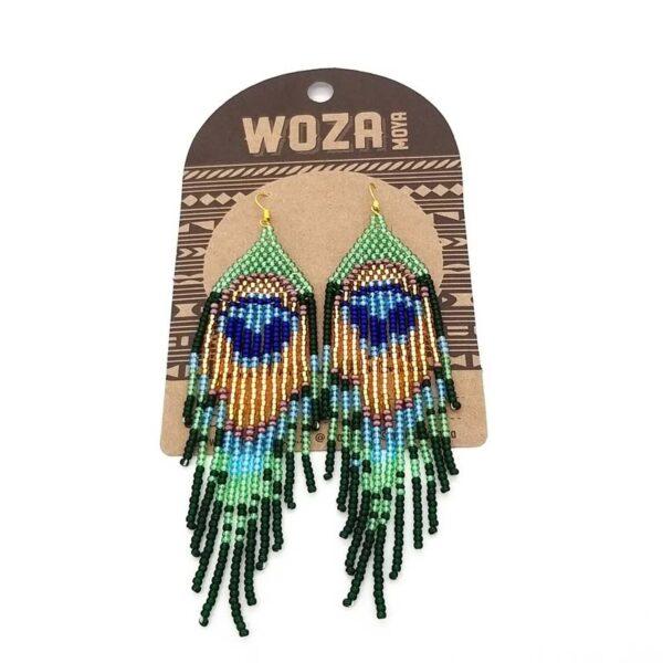 Peacock beaded earrings