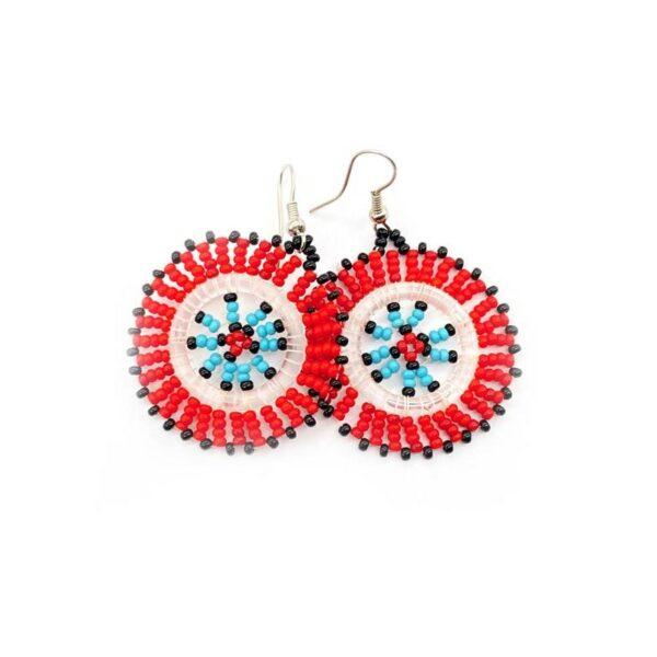 Aztec Beaded Disc Earrings