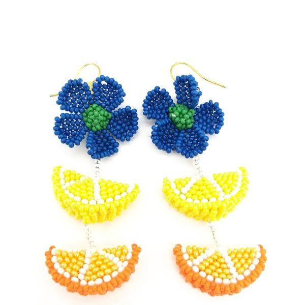 Flower and Fruit Dangle Earrings