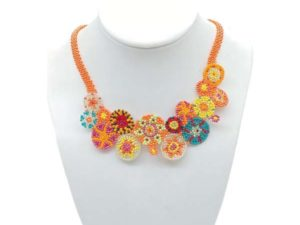 Aztec beaded necklace accessory in vibrant colours
