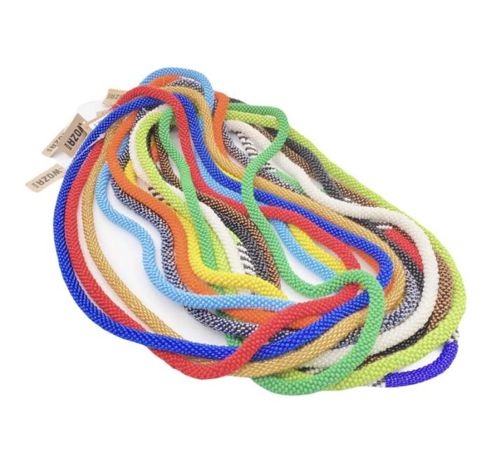 N014-1 Thick Crochet weave necklace, wide range of colours 62x0.8x0.8, 86g