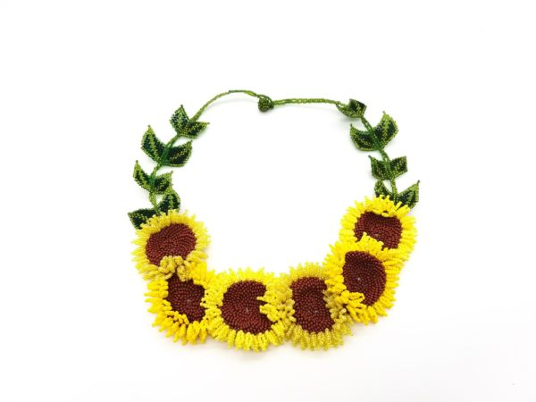 N036 Jaquelines Flower bouquet necklace in yellow daisy seed glass beads, 50 x 4.5 x1cm 75 grams, Woza Moya,