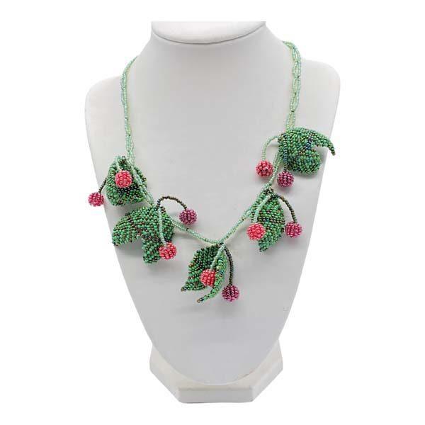 cherries fruit beaded necklace