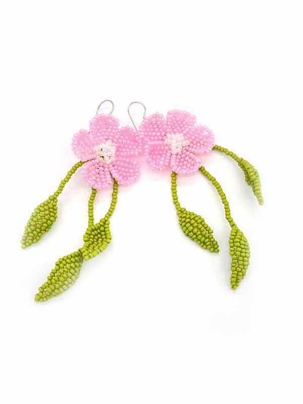 Flower with Dangling Leaves Bead Earrings