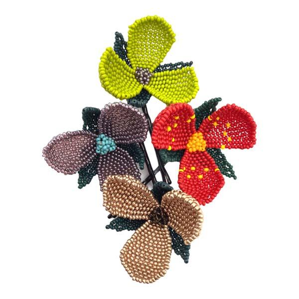 H009 Assorted flower and leaf hair clip 8cm x 4cm x2cm 21 grams (2)